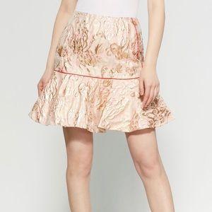 Sandro Brocade Golden Ruffle Mini Skirt 2 NWT